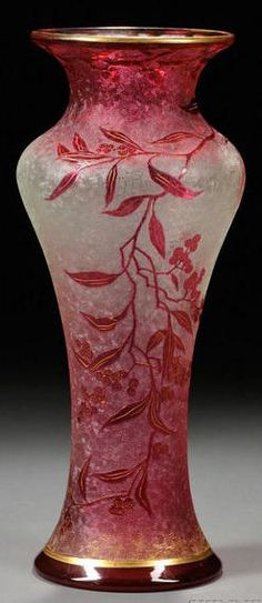 Art Nouveau Cameo art glass vase, France, early 20th century