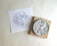 Full Moon - Large Hand-Carved Rubber Stamp. $14.00, via Etsy.