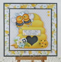 Whimsy Stamps card by Shannah Bartle using 'Bee Happy' image and sentiment set from the Crissy Armstrong Collection, and 'Summer Breeze' Enamel Dots.