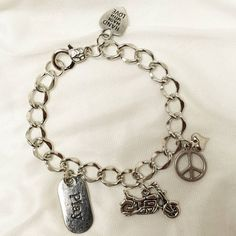 Born To Ride Charm Bracelet by CreationsbyDreamLady on Etsy