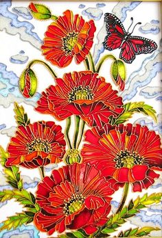 """""""Poppies"""" Stained Glass Painting ~ by St. Petersburg artist Iris"""