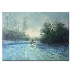 North Korea original oil painting, cyclist in winter, white snow, impressionist