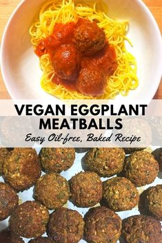 Firm and flavorful vegan eggplant meatballs, perfect for spaghetti and meatballs or a vegan meatball sub. You'll love this plant-based, oil free comfort food recipe! Makes a quick freezer meal since they freeze well. Vegan Eggplant Recipes, Healthy Eggplant, Eggplant Dishes, Vegan Dinner Recipes, Vegan Snacks, Italian Recipes, Whole Food Recipes, Vegetarian Recipes, Healthy Recipes