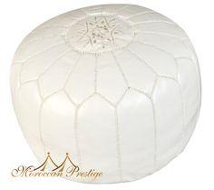 $250 White Leather Pouf