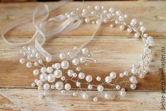 Купить Венок из бусин - белый, венок, веночек, для невесты, для прически, ангел, ангелок, гребень, для волос