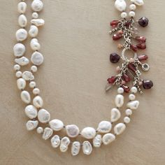 "PEARL MELANGE NECKLACE -- Cultured pearls -- coin, Keshi, rice and potato -- star in our double strand pearl necklace accented with garnets, labradorites and pink opals. Sterling silver toggle clasp. Handcrafted exclusively for Sundance. 17""L."