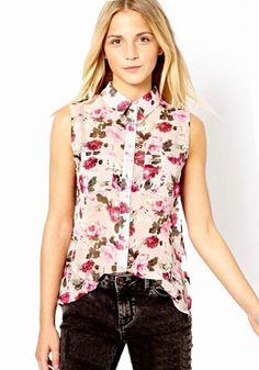 Multicolor Floral Print V-neck Sleeveless Cotton Blend Blouse