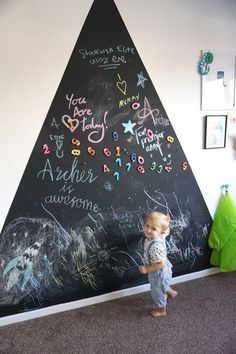 The Tried And True Method For Chalkboard Wall Playroom In Step By Step Detail 223 Kids Wall Decor, Baby Room Decor, Nursery Decor, Wall Decor Crafts, Kids Wall Murals, Boy Decor, Nursery Ideas, Baby Boy Rooms, Baby Bedroom