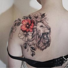 Lion and hibiscus tattoos done by Zihwa Tattooer