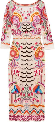 Temperley London - Chimera Embroidered Tulle Midi Dress - Pink
