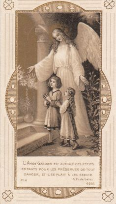 Old devotional picture. Angel watching over children.