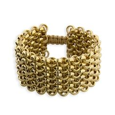 """Our most popular Classic Links Cuff bracelet is about 1¼"""" wide and made of leather and chain with adjustable slider closure. Six lines of elegant 14Kt Yellow Gold finished Rollo chain hand woven by artisans with soft, subtle metallic Gold leather make each unique and an original. The coordinating gold silk cord macrame sliding closure adjusts to comfortably fit on your wrist.  #14kgoldbracelet #14kgoldbanglebracelet #Braceletsgold #Banglesbracelets"""
