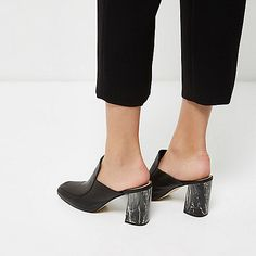 Black closed toe marble heel mules - mules - shoes / boots - women