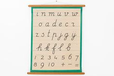 Vintage Alphabet Chart Letter Pull Down Chart Handwriting Green Kids Wall Hanging by Mapsj on Etsy https://www.etsy.com/listing/232931216/vintage-alphabet-chart-letter-pull-down
