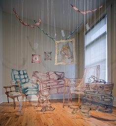 "Amanda McCavour ""Living Room"" Thread, Solvy, and machine embroidery, 10' x 10' x 10' (dimensions variable), 2010-2011. Photo: Agata Piskunowicz. Produced with the support of the Ontario Arts Council. Shown Courtesy of Lonsdale Gallery, Toronto."