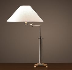 French Column Glass Swing-Arm Table Lamp - Polished Nickel