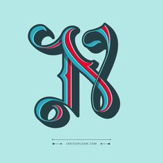 "and I've seen thousands of lettering pieces these days. ___ ""Love Letter N"" by Janice Rudan Lettering Design, Hand Lettering, Phoenician Alphabet, Different Alphabets, Greek Alphabet, Letter N, Drop Cap, Vintage Type, Modern Typography"