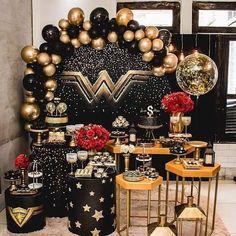 Wonder Woman Birthday, Wonder Woman Party, Simple Birthday Decorations, Table Decorations, I Party, Party Time, Birthday Parties, Happy Birthday, Its My Bday