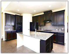Espresso Kitchen Cabinets With Black Appliances