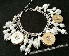 Ammo Charm Bracelet -  3 Double-sided Winchester Shotshells, Clear Crackle Beads, Faux Pearls & Silver Metal Beads