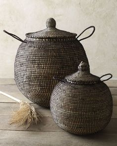 sucker for handsome baskets! Two Woven Baskets traditional baskets, Straw and Wool African baskets Basket Weaving, Hand Weaving, Woven Baskets, Rustic Baskets, Traditional Baskets, Basket Bag, Decorative Storage, Handmade Home Decor, Wabi Sabi
