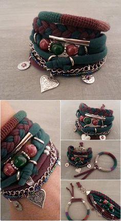 Gypsy Bracelet Green Marsala Boho Bracelet Set by vanessahandmade