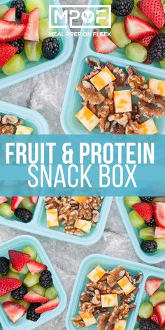 DIY Fruit & Protein Snack Boxes – Meal Prep on Fleek™ – fitness meal prep Fitness Meal Prep, Paleo Meal Prep, Lunch Meal Prep, Easy Meal Prep, Keto Meal, Protein Snacks, Healthy Snacks, Healthy Recipes, High Protein