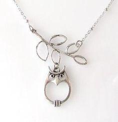 silver owl and leaf branch necklace by KriyaDesign