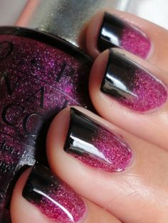 Burgundy black ombre nails