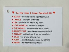 Novelty Survival Kit Gift One I Love Boyfriend Girlfriend Fiance Husband Wife | Other Celebrations & Occasions | Celebrations & Occasions - Zeppy.io