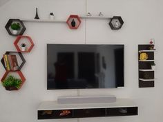 Bedroom Tv Wall, Bedroom Bed Design, Wall Mounted Tv, Tv Cabinets, Tv Unit, Diy, House, Ideas, Bricolage