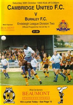 Cambridge Utd 0 Burnley 1 in Oct 1993 at Abbey Stadium. The programme cover #Div2