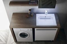 Laundry Room Design, Bathroom Design Small, Bathroom Layout, Modern Bathroom, Small Laundry Sink, Laundry In Bathroom, Bathroom Organisation, Bathroom Storage, Laundy Room