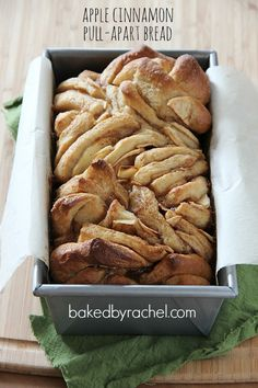 Apple Cinnamon Pull-Apart Bread Recipe from bakedbyrachel.com.  My mom and I baked this last Fall, and it was yummy.  Our two cents: make more filling and use more butter!
