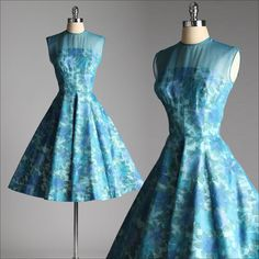 vintage 1950s dress . blue floral cotton . by millstreetvintage, $225.00. Perfect color and perfect style.