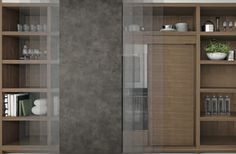 Puerta corrediza en cuero. Detrás esta horno y nevera con puerta en Nogal. Tall Cabinet Storage, Kitchen, Furniture, Home Decor, Fridge Cooler, Oven, Leather, Cooking, Decoration Home