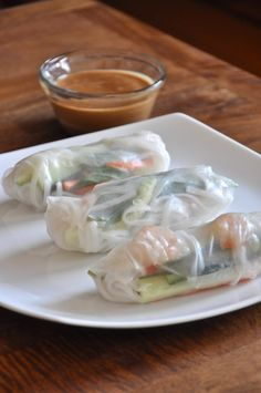 spring rolls and peanut sauce