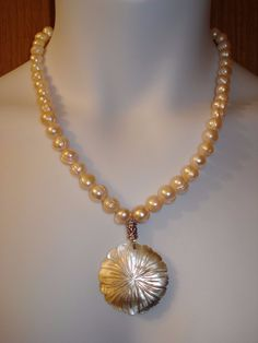 "20 1/4"" Baroque Pearls and Shell Necklace, 8 1/2"" Bracelet & 2"" Drop Earrings"
