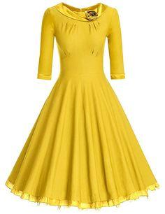 Ur-Fashion Women's 1950s Vintage 3/4 Sleeve Rockabilly Swing Dress Yellow