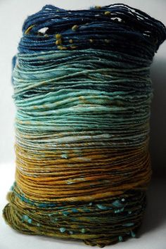 I want to learn to use a spinning wheel so that I can dye and spin yarn like this. Spinning Yarn, Hand Spinning, Textiles, Art Du Fil, Yarn Inspiration, Yarn Colors, Colours, Hand Dyed Yarn, Knitting Yarn