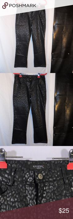 Guess Brand Black Leopard Print Stretch Jeans 28 Guess Brand Black Leopard Print Stretch Jeans 28 Guess Jeans Boot Cut