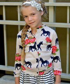 Look at this #zulilyfind! Cream Horse Cardigan - Toddler & Girls by Pretty Cute #zulilyfinds