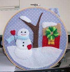 Winter scene hoop art