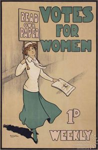 Poster by Hilda Dallas, c.1912In 1908, the WSPU set up the Women's Press to produce and publish their newspaper. Votes for Women started as a monthly publication but soon appeared weekly and was sold for a penny to a readership of 40,000.