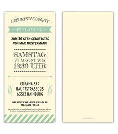 Einladungskarten Geburtstag als Ticket Eintrittskarte Einladung Karte Vintage Retro