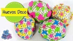 Huevos de Pascua decorados con decoupage.