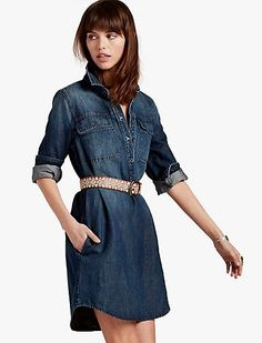 Essential, easy fit utility dress crafted from an effortless linen and cotton blend. Comfortable Outfits, Dress Brands, Stitch Fix, Lucky Brand, Blue Dresses, Shirt Dress, My Style, Casual, Cotton