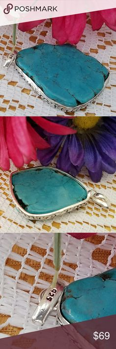 """TURQUOISE PENDANT Big Beautiful 2.5"""" x 1.5"""" Turquoise Pendant """"Marked 925"""" Sterling Silver (VERY RARE) Jewelry Necklaces"""