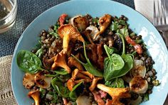 Jerusalem artichoke, wild mushroom, bacon and lentil salad - Diana Henry's food Lentil Salad Recipes, Veggie Recipes, Healthy Recipes, Artichoke Salad, Artichoke Recipes, Jerusalem Artichoke Recipe, Wild Mushrooms, Stuffed Mushrooms, Mushroom Salad