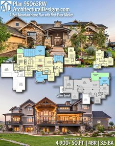 Plan 95063rw 4 Bed Mountain Home Plan With First Floor Master Mountain House Plans House Plans Mansion Sims House Plans